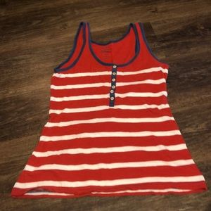 Old Navy Red/White Striped Tank Top